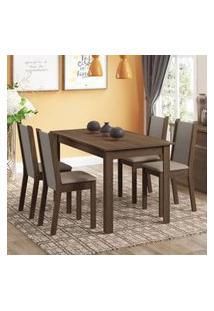 Conjunto Sala De Jantar Rosa Madesa Mesa Com 4 Cadeiras Rustic/Crema/Pérola
