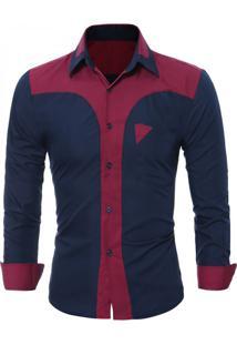 Camisa Masculina Slim Bicolor Manga Longa - Azul Marinho Pp
