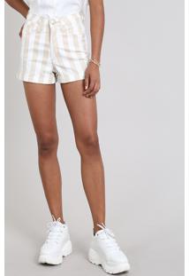 Short Sarja Feminino Hot Pants Listrado Bege