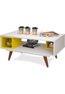 Mesa Auxiliar, Branco, Amarelo, Vintage 45 Ii