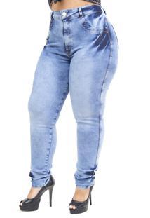 Calça Jeans Latitude Plus Size Com Cinta Nara Azul