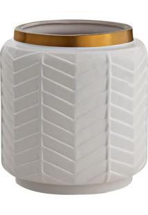 Vaso Decorativo Geométrico- Branco & Dourado- 16Xø15Mart