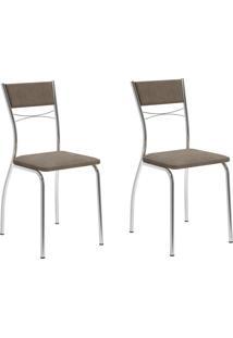 Kit 2 Cadeiras 1701 Camurça Conhaque/Cromado - Carraro Móveis