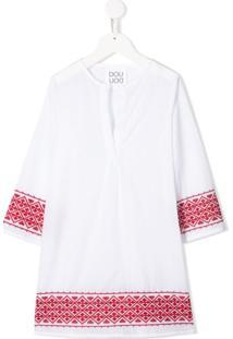 Douuod Kids Vestido Com Bordado Contrastante - Branco