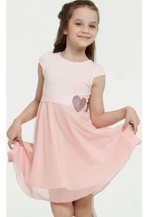 Vestido Infantil Tule Coração Glitter Manga Curta