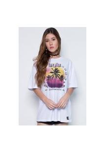 Camiseta Manamana Oversized Alongada Estampa Silk 90'S