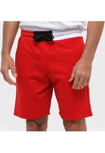 Bermuda Moletom Otn Detalhe Cintura Masculina - Masculino-Vermelho
