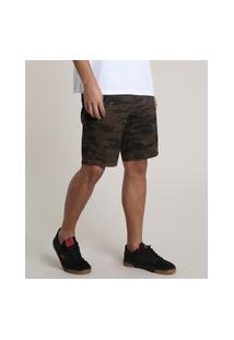 Bermuda De Sarja Masculina Slim Estampada Camuflada Marrom