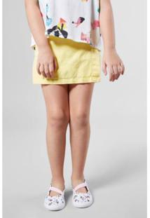 Short Infantil Saia Linho Reserva Mini Feminino - Feminino-Amarelo