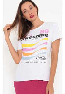 Camiseta Com Inscrições- Branca & Rosa- Coca-Colacoca-Cola