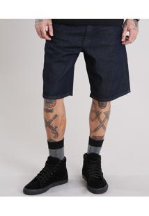 Bermuda Jeans Masculina Reta Azul Escuro