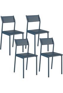 Cadeira Carraro 1709 Azul Noturno 4 Cadeiras