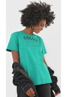 Camiseta Colcci Lettering Verde - Verde - Feminino - Algodã£O - Dafiti