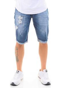 Bermuda Offert Jeans Premium Destroyed Slim Fit Azul Médio