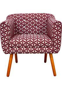 Poltrona Decorativa Julia Linho Floral Geométrico Vermelho A35 Com Strass - D'Rossi - Tricae