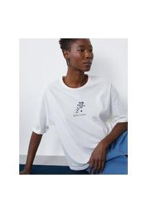 Amaro Feminino T-Shirt Regular Hello Visitor, Off-White