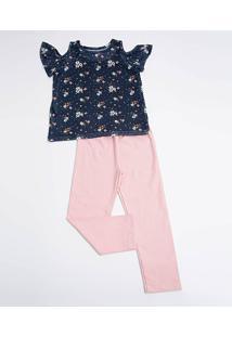 Conjunto Infantil Open Shoulder Tule Floral Manga Curta Marisa