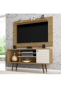 Rack Com Painel Para Tv Até 50 Polegadas Safira Cinamomo/Off-White - Móveis Bechara