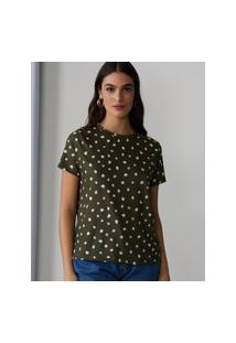 Amaro Feminino Camiseta Estampada Special, Brushes Dots Militar