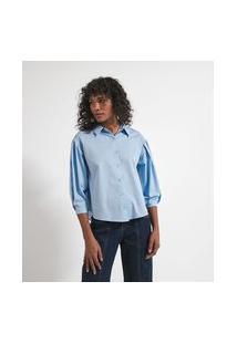 Camisa Manga Longa Bufante Com Pregas Em Tricoline   Marfinno   Azul   G
