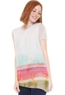Camiseta Desigual Bordada Tule Off-White
