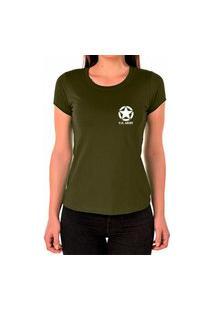 Camiseta Feminina Algodão Básica Estrela Macia Confortável Verde
