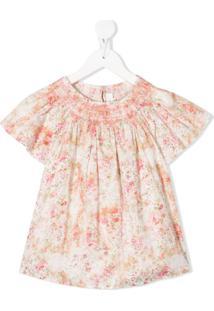 Bonpoint Blusa Mangas Curtas Com Estampa Floral - Rosa