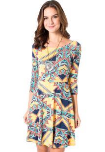 Vestido Estampado Mercatto 1766095 Amarelo