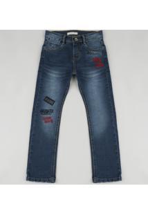 Calça Jeans Infantil Reta Com Bordado Azul Escuro