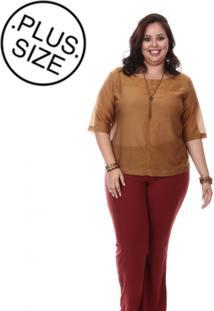 Blusa Plus Size Loulic Lara Caramelo