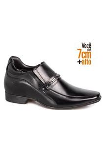 Sapato Social Couro Rafarillo Masculino Elástico Salto 7Cm Preto