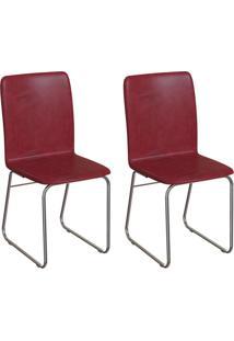 Conjunto Com 2 Cadeiras Hawke Vinho E Cromado