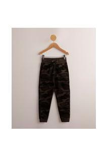 Calça Infantil De Moletom Jogger Camuflada Com Cordão Verde Militar