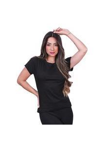 Camisa Lisa Feminina Basica Algodão Camiseta Tshirt Preto