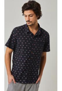 74e60e1da3 Redley. Camisa Manga Curta Estampada Pattern Mini Icons Preto