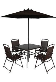 Conjunto De Mesa Com 4 Cadeiras E Ombrelone Para Área Externa Miami Marrom