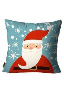 Capa Para Almofada Mdecore Natal Papai Noel Azul 45X45Cm