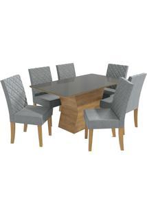 Mesa Para Sala De Jantar Com 6 Cadeiras Ba19-Kappesberg - Freijo / Cinza