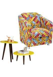 Poltrona Decorativa Com Mesa De Centro E Lateral Lyam Decor Laura Amarelo