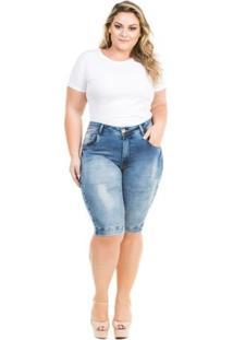 Bermuda Confidencial Extra Plus Size Jeans Squash Feminino - Feminino