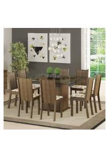Conjunto Sala De Jantar Madesa Camila Mesa Tampo De Vidro Com 8 Cadeiras Rustic/Lírio Bege