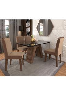 Conjunto De Mesa Clara Para Sala De Jantar Com 4 Cadeiras Taís Moldura -Cimol - Marrocos / Preto / Pluma