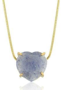 Colar Toque De Joia Coração Pedra Natural Quartzo Azul - Feminino-Dourado