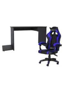Conjunto Playerxtreme Slin Mesa Preto Texturizado E Cadeira Gamer Azul - Gran Belo