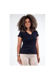Camiseta Meio Swag Básica Gola V Preta