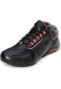 Bota Motociclista Atron Shoes Refletivo Cano Baixo Preto