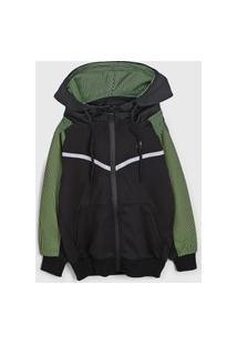 Jaqueta Polo Wear Infantil Capuz Preto/Verde