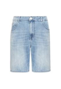 Bermuda Masculina Jeans Haigh Cofort Strt Rock Couro - Azul