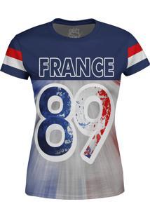 Camiseta Estampada Baby Look Over Fame França Azul