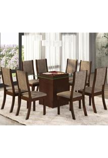 Conjunto Para Sala De Jantar Mesa E 8 Cadeiras Amora Espresso Móveis Choco/Canela